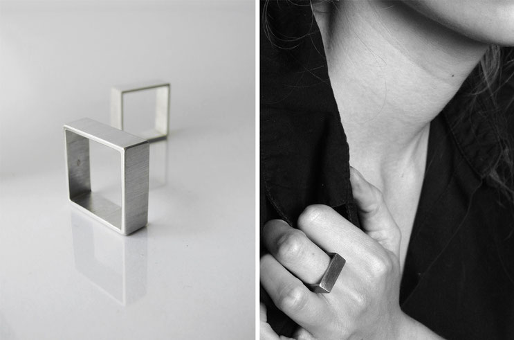 Ring Carrée - silver - Nelly Chemin  - contemporary jewelry