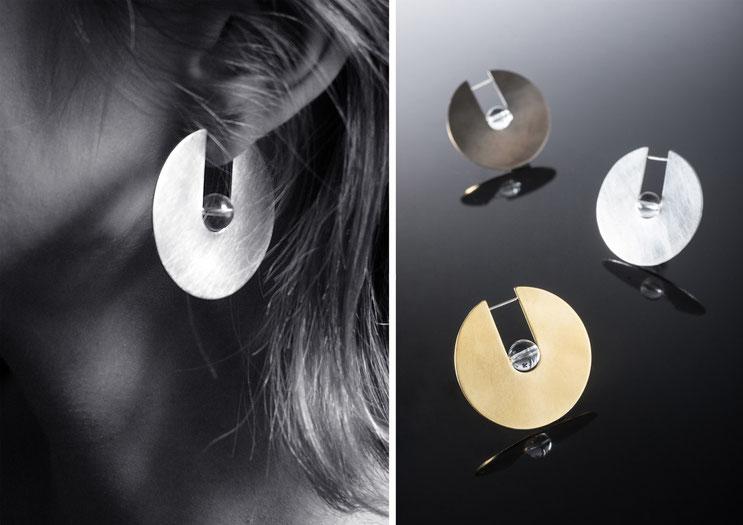 Boucles d'oreilles Oxus - argent et cristal de roche - Nelly Chemin - bijoux contemporains