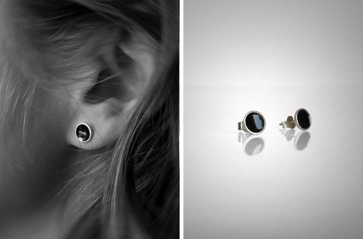 Boucle d'oreille Concave - argent et résine noire- Nelly Chemin - bijoux contemporains
