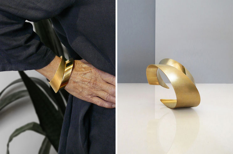Bracelet RÖR-II, brass gilded with fine gold, Nelly CHEMIN