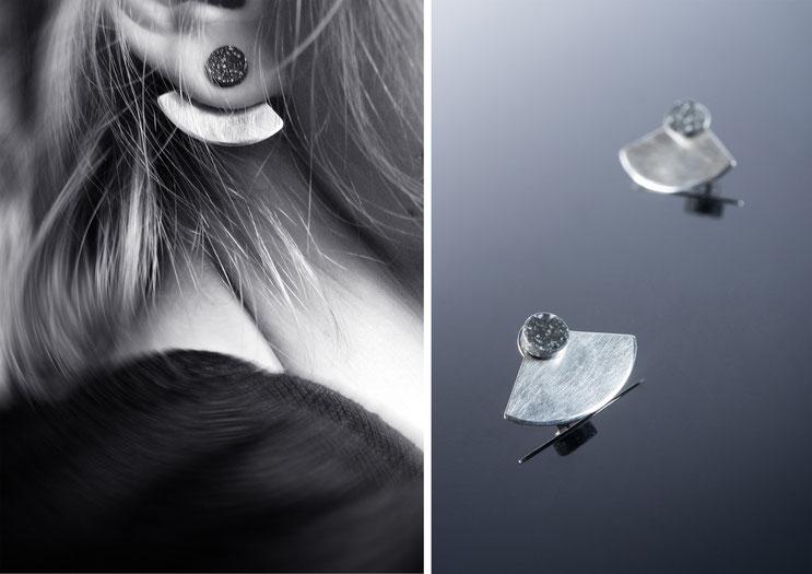 Boucles d'oreilles Khêpri, bijou de lobe, bijoux de lobes, argent et corian - Nelly Chemin - bijoux contemporains
