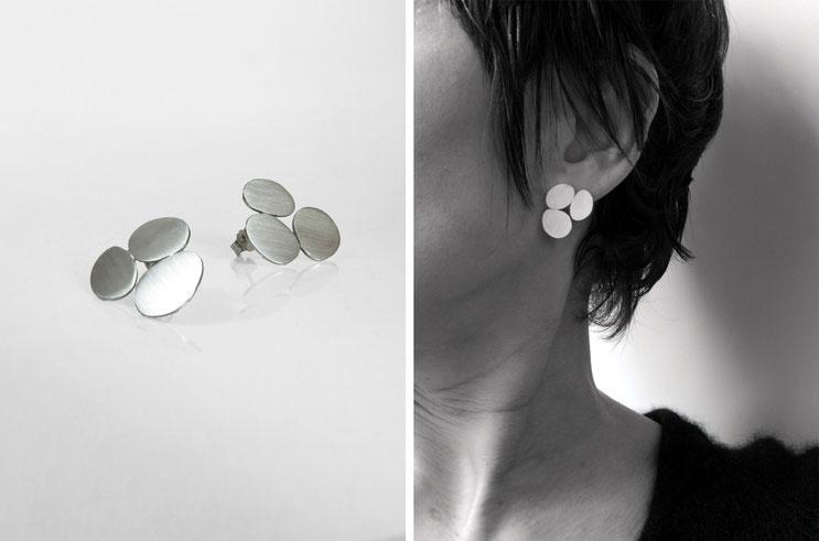 Boucle d'oreille Galets - argent - Nelly Chemin - bijoux contemporains