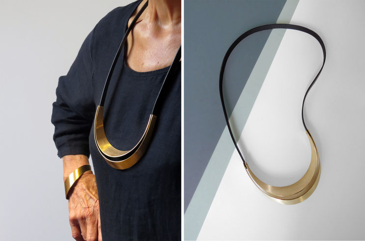 Necklace RÖR,  leather and brass gilded with fine gold, Nelly CHEMIN
