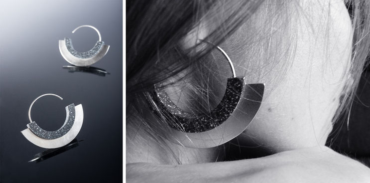 'Horus' earrings - silver and corian - Nelly Chemin - bijoux contemporains