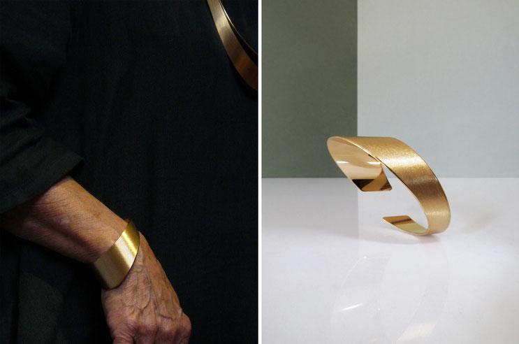 Bracelet RÖR, brass gilded with fine silver, Nelly CHEMIN