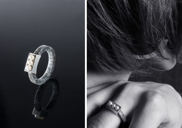 'Oxus' ring - silver, corian and cultured pearls - Nelly Chemin - bijoux contemporains