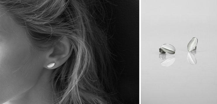 Earring Grains de café -  silver - Nelly Chemin - contemporary jewelry