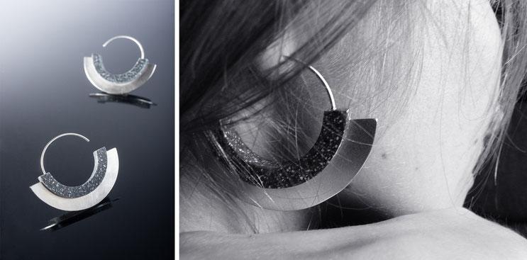 Boucles d'oreilles Horus - argent et corian - Nelly Chemin - bijoux contemporains