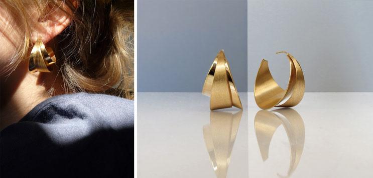 Boucles d'oreilles RÖR-II, laiton doré à l'or fin, Nelly CHEMIN