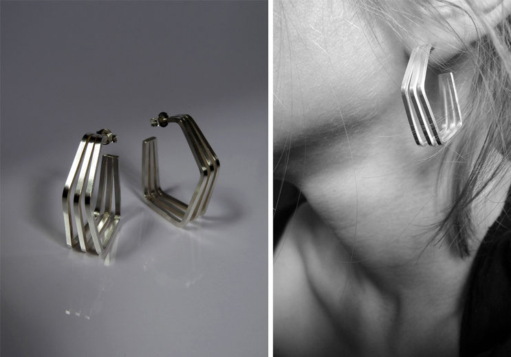Earring Un, deux, trois  silver - argent - Nelly Chemin  - contemporary jewelry