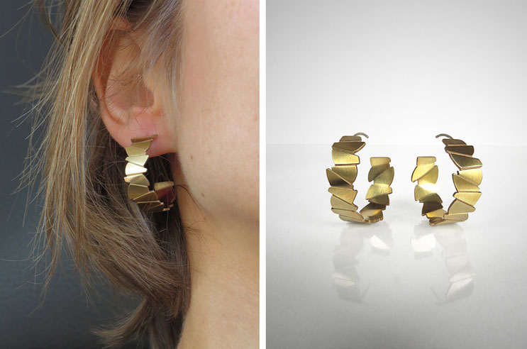 FACE-A-FACE earrings,   brass gilded with  fine gold, Nelly CHEMIN faceted, organic, irregular, prism, triangle, geometric, scales
