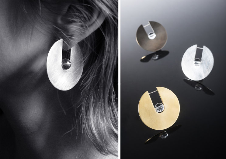 'Oxus' earrings - silver and crystal rock - Nelly Chemin - bijoux contemporains