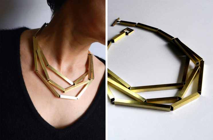 Necklace Tubule - brass - Nelly Chemin -  contemporary jewelry