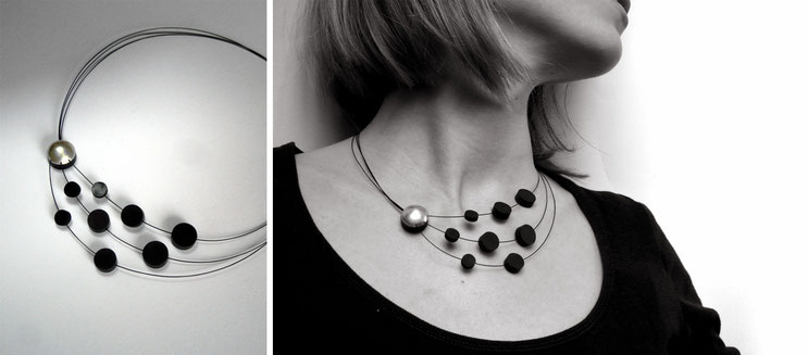 Necklace Crescendo  - silver and rubber  magnet clasp - Nelly Chemin -  contemporary jewelry