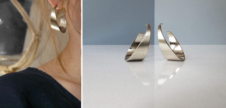 Earrings RÖR, silver plated brass, Nelly CHEMIN