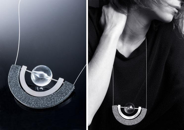 Collier Oxus - argent, corian et plexiglas - Nelly Chemin - bijoux contemporains