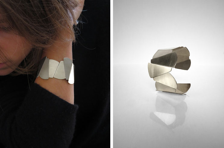FACE-A-FACE necklace,   silver plated brass, Nelly CHEMIN faceted, organic, irregular, big, wide, prism