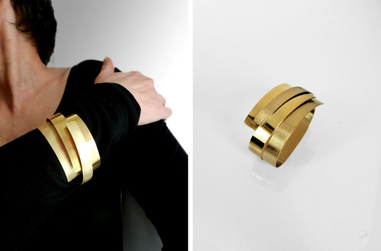 Bracelet Monolithe  brass gilded with fine gold - Nelly Chemin - contemporary jewelry