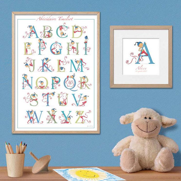 Abécédaire Timeliot - poster alphabet chambre enfant