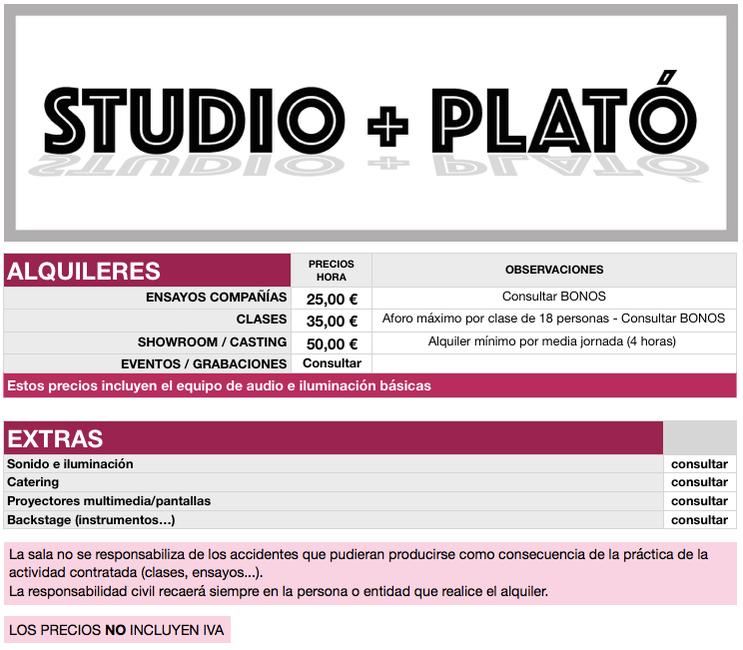INFANTEWEB - PRECIOS STUDIO + PLATO