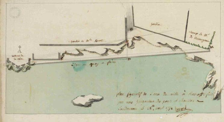 Projet de construction d'un « quay » à Roscoff, à l'emplacement de l'actuel bassin de la station biologique par l'ingénieur Besnard en 1772 (coll AD35 cote C3169)