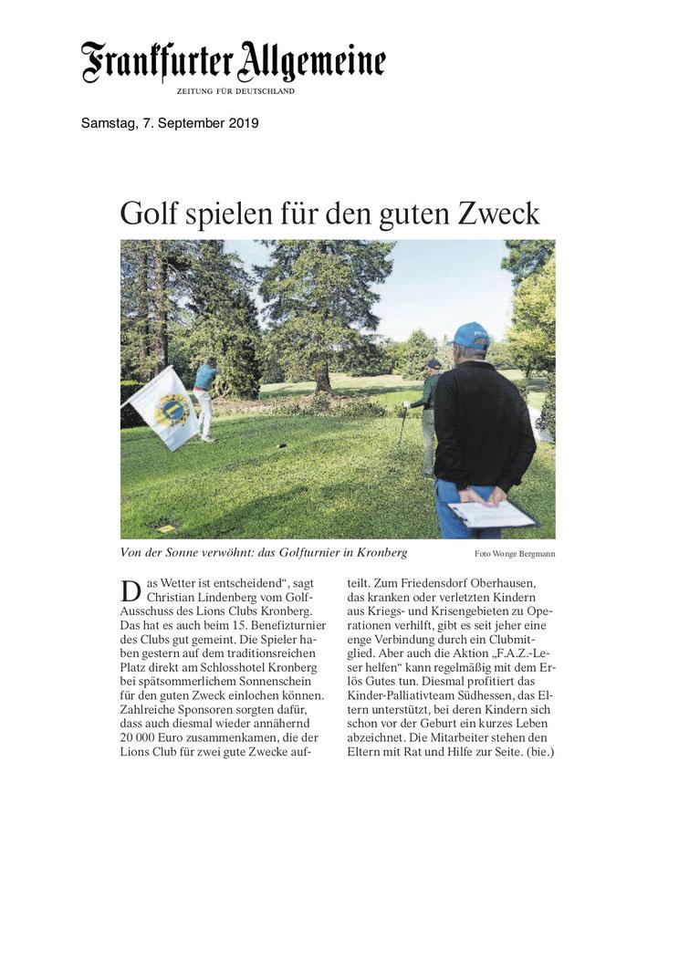FAZ Artikel Golfen für einen guten Zweck - Lions Kronberg