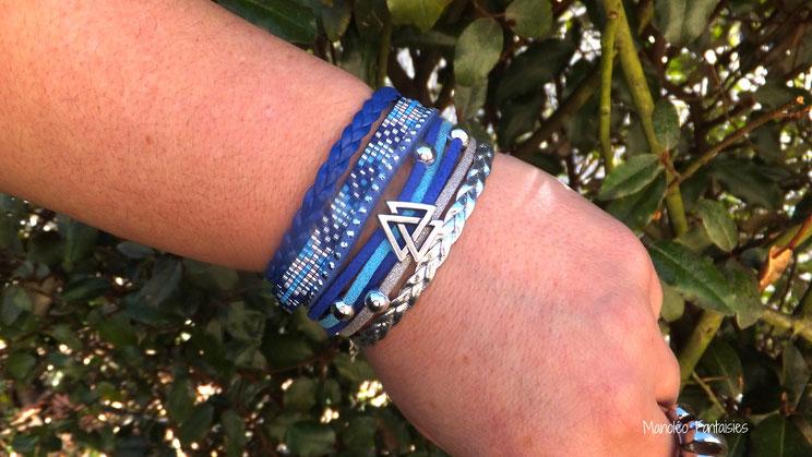 Bracelet manchette INAKI bleu argenté graphique perles ethnique strass