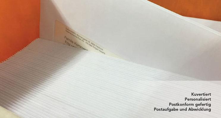 Kuvertiert, Personalisiert und Postversand-alles aus einer Hand