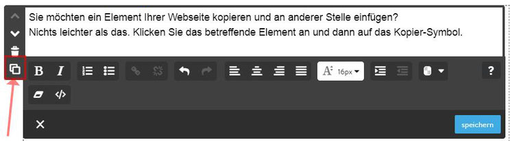 Jimdo: Kopierfunktion, Elemente schnell kopieren