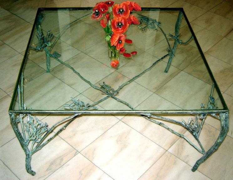 Masă, bronz şi sticlă, 100 x 100 x 50 cm