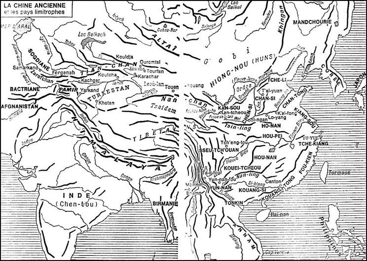 Carte 1. Marcel Granet (1884-1940): La civilisation chinoise. — La renaissance du livre, Paris, 1929. Bibliothèque de Synthèse historique « L'Évolution de l'Humanité », tome XXV.