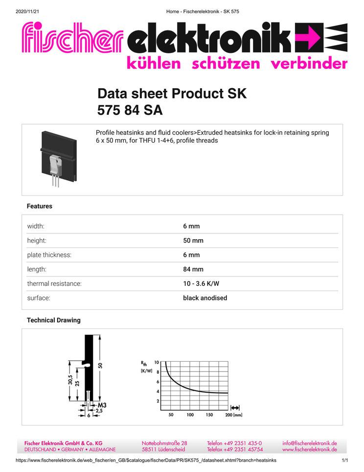 SK 575/84 SA Fischer /フィッシャー ヒートシンク トランジスタ用 クリップ専用タ