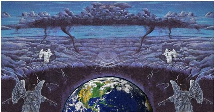 4 anges se tiennent symboliquement debout aux 4 coins de la Terre et attendent le signal pour lancer l'offensive au nom du Tout-Puissant. Le fait que ces 4 anges se tiennent debout aux 4 coins de la Terre indique qu'ils englobent la totalité de la planète