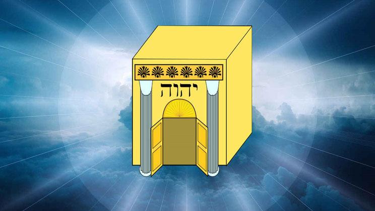 Le Temple céleste est symbolique et représente la présence même de Dieu et le culte pur qui lui est consacré et le pouvoir du Tout-Puissant se préparant à agir sur terre. Les humains vont pouvoir bénéficier de l'action rédemptrice du sang versé de Jésus.