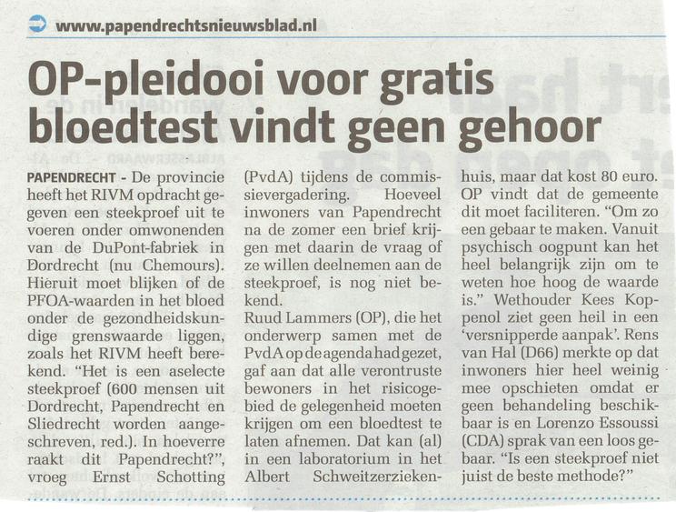 Artikel verschenen in het Papendrechts Nieuwsblad van 01 juni 2016
