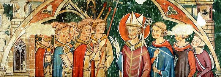 Accueil de saint Maurille à Angers par l'évêque d'Angers son prédécesseur (détail). Cathédrale Saint-Maurice d'Angers.