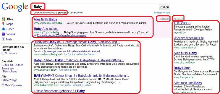 """Wir geben einen Suchbegriff: (Keyword) ein, der uns interessiert, sagen wir """"Baby"""" und klicken nun auf Google-Suche."""