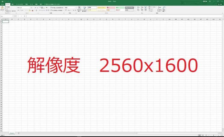 解像度2560x1600のエクセル画像