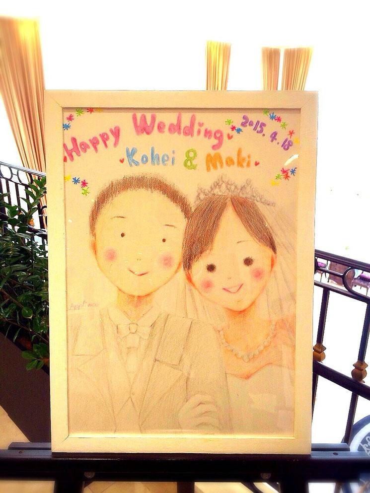 ウェルカムボード、ご両親への感謝のプレゼントギフト、引き出物、結婚式当日のゲストへの似顔絵描きパフォーマンス(引き出物にもなる)、ご友人への結婚祝いギフト