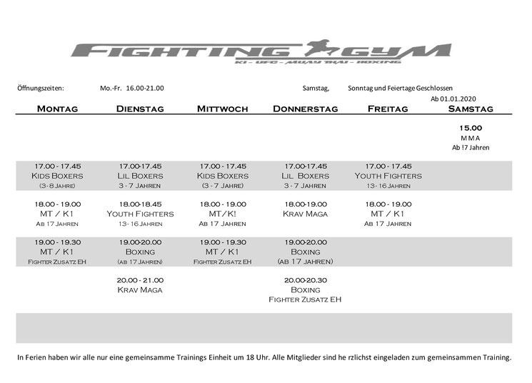 Kursplan für Fighting Gym ab Februar 2020