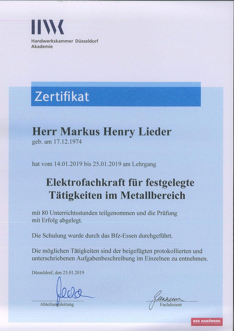 PV-Lieder, Eigenstromlösungen, Markus Henry Lieder, Elektrofachkraft für festgelegte Tätigkeiten im Metallbereich