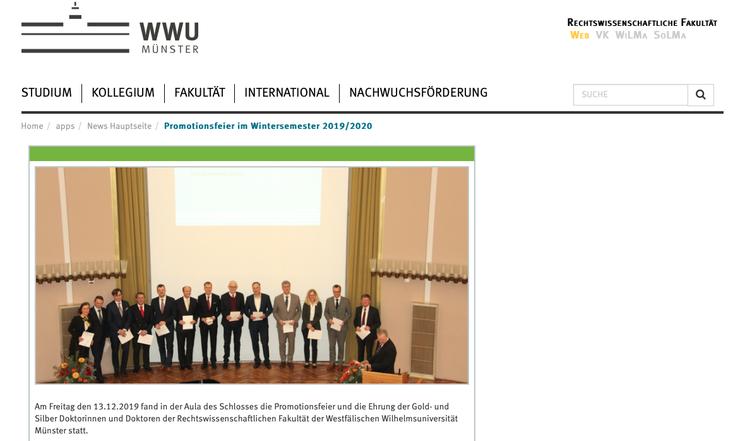 Rechtswissenschaftliche Fakultät der WWU Münster -Silbernes Promotiosjubiläum