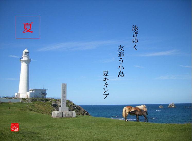 泳ぎゆく友追う小島夏キャンプ  泳(およぎ)下北半島 尻屋灯台 160504転記 作句