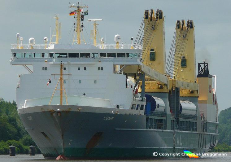 Schwergutfrachter LONE der SAL Heavy Lift, Typ 183, Nord-Ostsee Kanal 22.06.2018