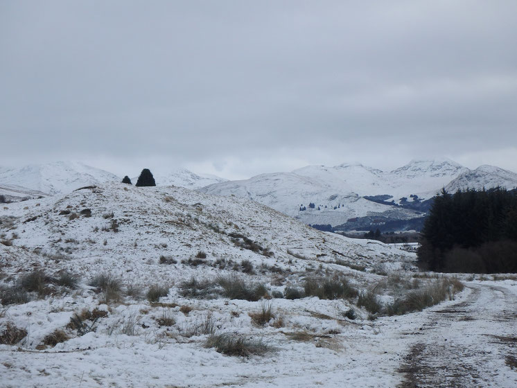 Snow on Auchtertyre Farm, West Highland Way in December
