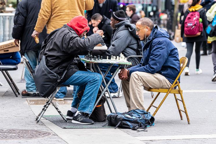 Combat d'échecs, Union Square, New York