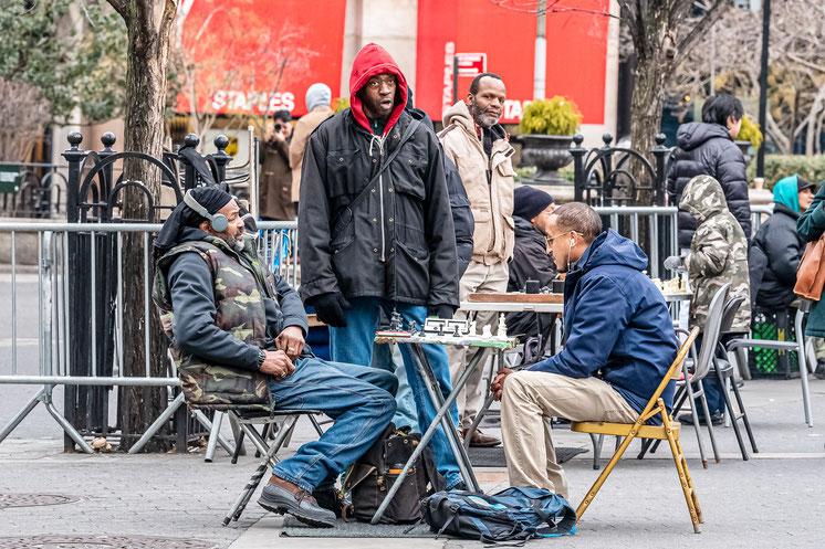 Joueur d'échecs, Union Square, New York