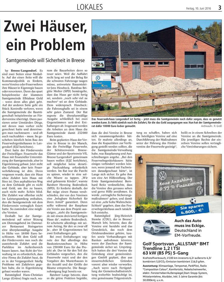 Elbe-Jeetzel-Zeitung 10. Juni 2016