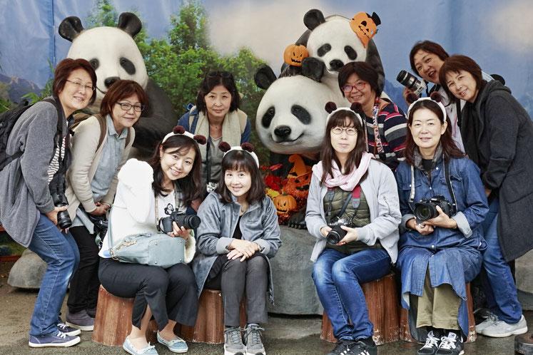 10/23東急カルチャーおしゃれフォトクラス・上野動物園にて写真実習を開催しました。カメラ女子の遠足みたいに楽しいこのクラスは皆さんのご要望で2年目に突入です~(^o^) 気になる方は画像をクリックして「東急港北カルチャー」からご覧くださいね!パンダのハロウィンコーナーがあり、私のカメラで係員さんに撮影して頂きました。とても良い1周年記念撮影になりました(^_-)~❤ お休みで写ってないメンバーさんごめんなさいね~m(__)m