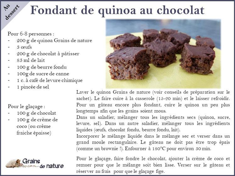 Quinoa Grains de nature produit dans l'Aube France associé au chocolat pour un dessert gourmand